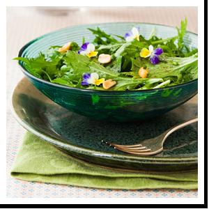 insalata mizuna con vinaigrette